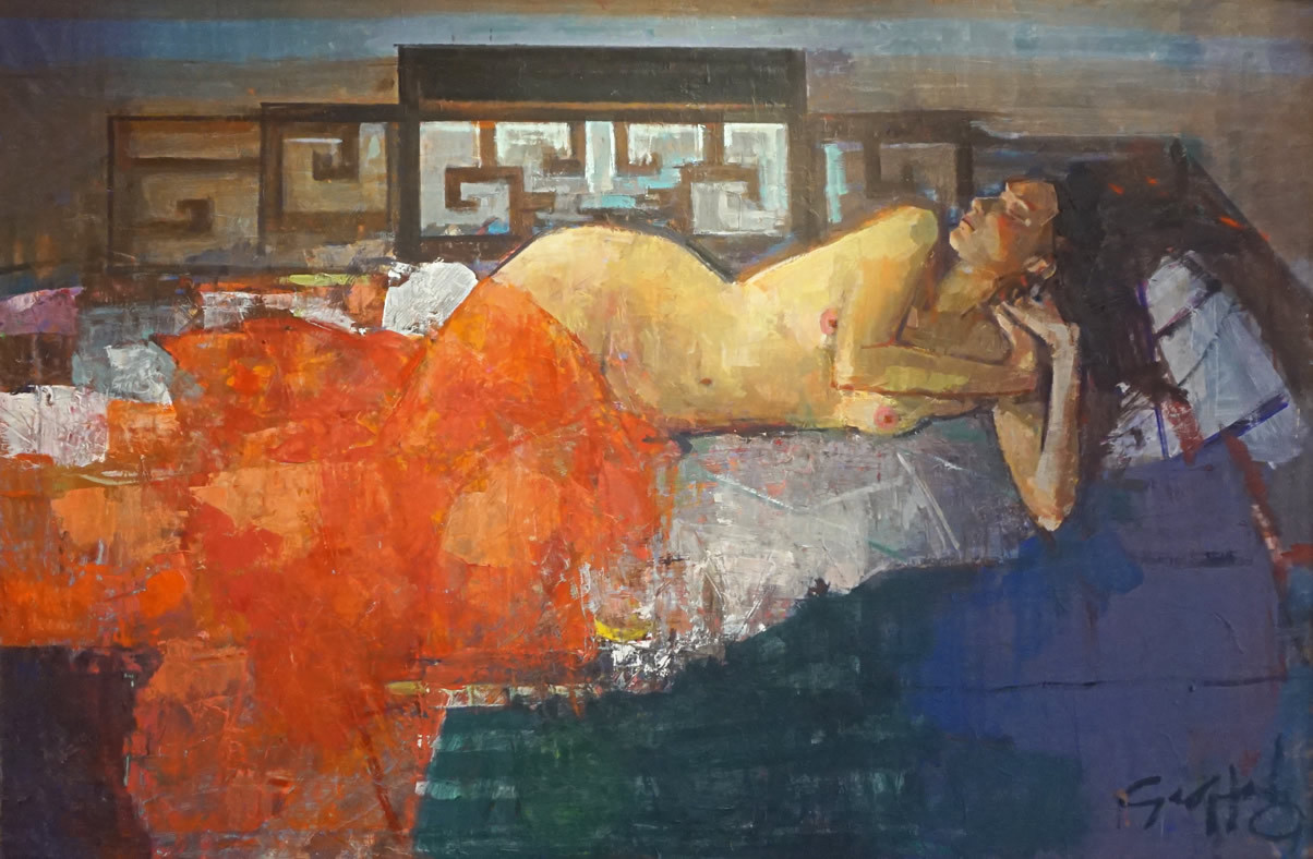 Reclining Nude on Opium Bed with Red Silk