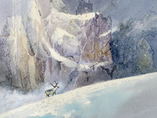 Caribou beneath glacier wall