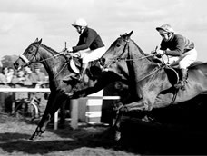 Red Rum and Brian Fletcher leads from Fort Lodge ridden by Graham Thorner over a fence during the Charisma Records
