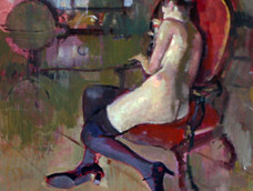 Girl in Red Chair, Black Stockings