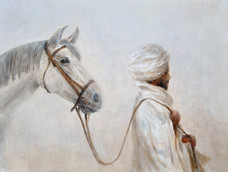 Rabari, Man Leading his grey horse