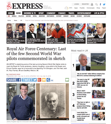 Jeremy Houghton in Express for new exhibition of RAF pilots.....