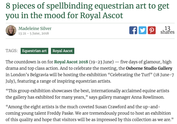 8 pieces of spellbinding equestrian art to get you in the mood for Royal Ascot