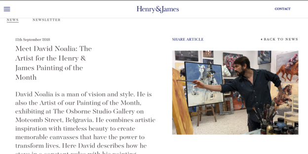 Meet David Noalia: The Artist for the Henry & James Painting of the Month